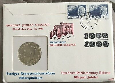 SWEDEN 1966 5 KRONOR Gustaf VI Adolf ~ Silver Coin ~Royal Mint ~ First Day Cover
