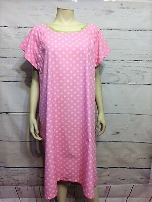 Gownies Size L/XL White Pink Polka Dot Maternity/Birthing Breastfeeding Gown