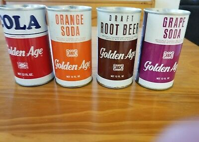 Lot of 4 late 1960s golden age soda cans - opened