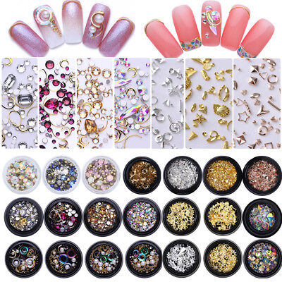 Nail Art Rhinestones Beads Stud AB Color Rose Gold Silver Hollow Chain 3D Decors