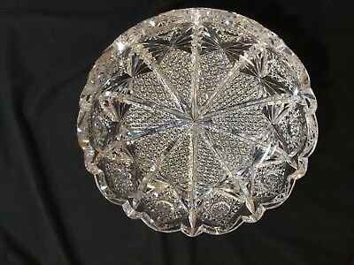 "Rare 10"" Antique Brilliant Cut Glass Crystal Napoleon Bowl Signed Hawkes"