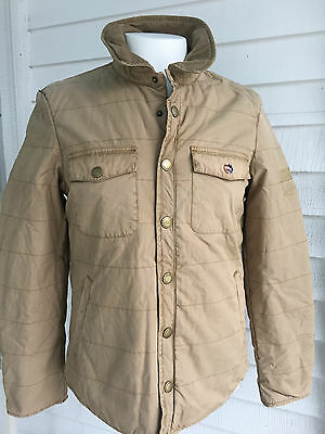 New Barbour International Steve Mcqueen Overdyed Quilted Jacket Sandstone Uk M