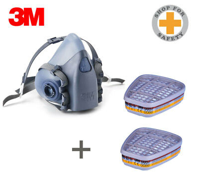 3M Half Face Reusable Respirator 7500 Med/Large + Pair of 3M 6057 Filters ABE1