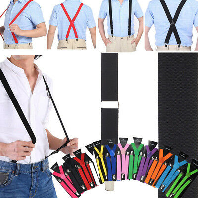 USA Mens Womens Clip-on Suspenders Elastic Y-Shape / X-Back Adjustable Braces JS