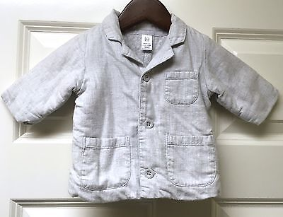 Baby Gap VGUC 0-3M Boy Heather Gray Quilted Warm Lining Button Up Blazer Jacket