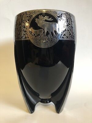 Art Deco, Sterling Silver Overlay, Rockwell Vase, Great Condition, Rare, Elk