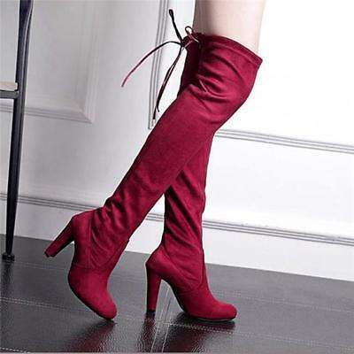 Women Over The Knee Stretch Thigh High Heel Boots Pointed Toe Pull Boot Shoes JA