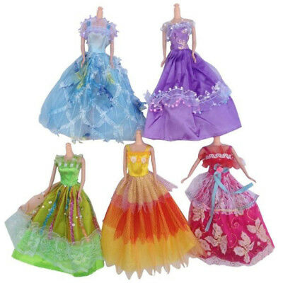 5Pcs/set Fashion Princess Party Dress Wedding Clothes/Gown For Barbie Doll newly