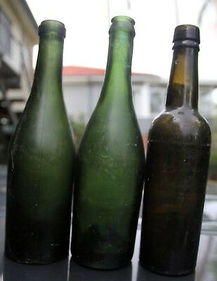 3 x 1800s to early 1900s Beer Bottles