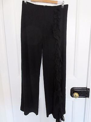 Ribkoff black vintage wide-leg pants with ruffled leg split size 10-12 (US 6-8)