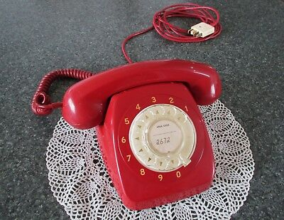 Collectable Red 1960's PMG model 801 Dial Telephone 1966 old retro phone in VGC