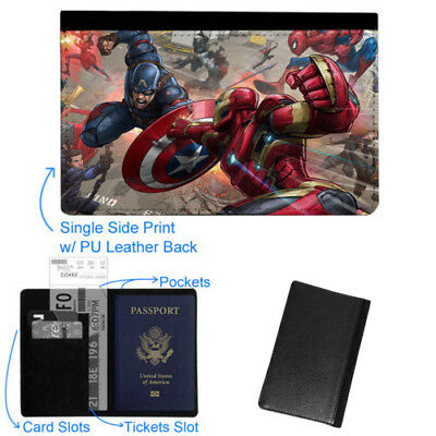 Captain America Spiderman Luggage Tag & Passport Holder Leather Travel Wallet