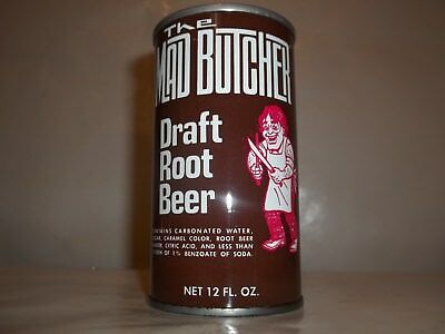 Mad Butcher Bottom Opened Root Beer Straight Steel Pull Tab Soda Pop Can Nice