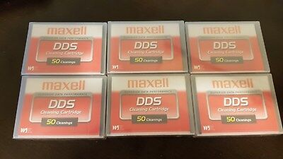 Brand new - Lot of 6 Maxell DDS Cleaning Cartridges - New Factory Sealed