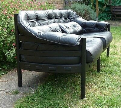 Scandinavian 1960's Sofa by Arne Norell  2 Seater Black Leather & Rosewood