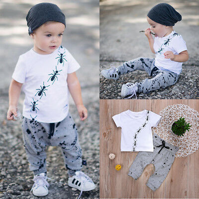 Summer Baby Boys Short Sleeve Animal Tops Harem Pants Outfits 2Pcs Clothes 0-24M