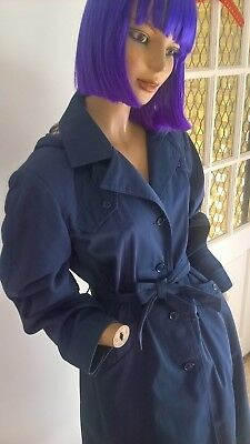 Vintage 80's dark blue trench coat with detachable hood & matching belt size 12