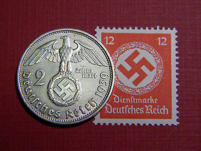 Old German Reich COIN 1937-1939 WWII w/Sw. +RARE STAMP