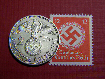 Old German Reich Silver COIN 1937-1939 WWII w/Sw. +RARE STAMP
