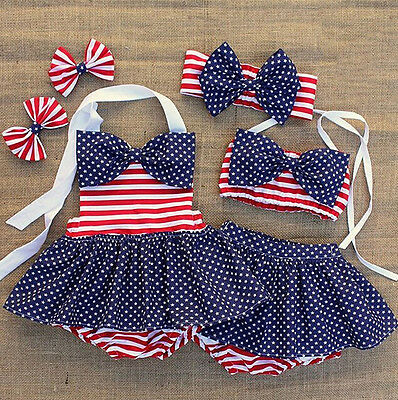 USA Kids Baby Girl Striped Bikini Bathing Suit Costume Tankini Swimwear Swimsuit