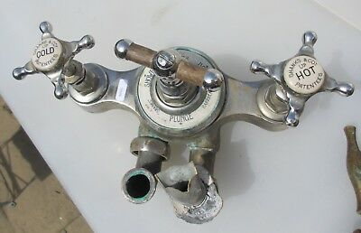 "Victorian Bath Tap Shower Mixer Antique Chrome Plated Brass Taps Old ""Shanks"""