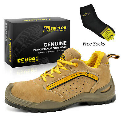 Safetoe Safety Shoes Mens Work Steel Toe Yellow Leather Breathable Summer L-7296