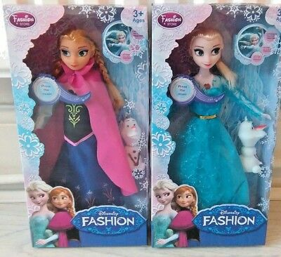 """FROZEN SINGING Anna & Elsa's(LET IT GO)  ,WITH SQUEAKING OLAF 11.5""""DOLL GIFT SET"""