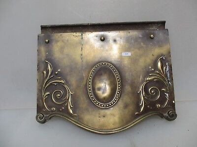 Antique Brass Iron Fire Hood Fireplace Black Canopy Old Gilt Leaf Rococo Beading