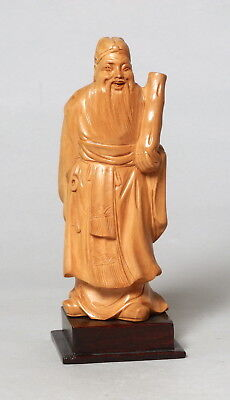 Beautiful Vintage Chinese Carved Boxwood Wooden Figure Scholar #1