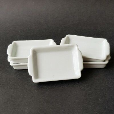 5x White Square Ceramic Tray Plate Dishes Dollhouse Miniature Food Wholesale Lot