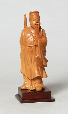 Beautiful Vintage Chinese Carved Boxwood Wooden Figure Of A Man #8