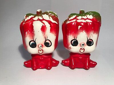 Vintage 60's/70's Red Capsicum Salt & Pepper Shakers Tomato Bell Anthropomorphic