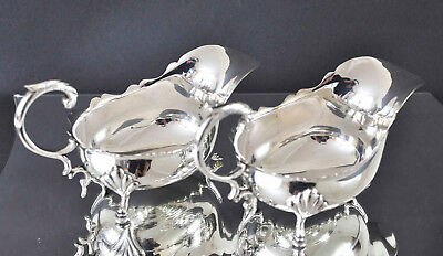 Vintage Pair of Silver Plated EPNS 1/2 pint Gravy Sauce Boats Serving