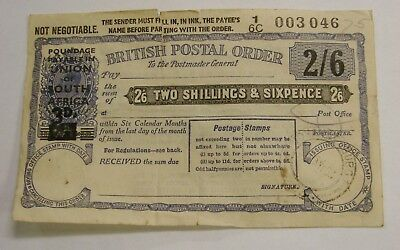 1953 British Postal Order 2 Shillings 6 Pence - South Africa Overprint 3D.