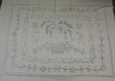 VINTAGE PUNCH NEEDLE Rug Hooking Pattern On Monks Cloth