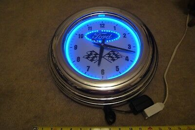 "Ford automotive Quality Timepiece neon bar, garage wall clock 14"", Nice!"
