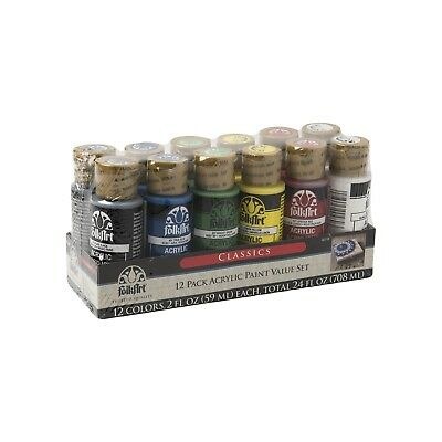 Plaid FolkArt Classics Acrylic Paint Set  12 Paints x 6 Colours - Craft Paint