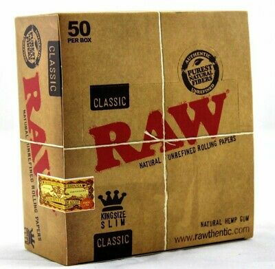 RAW Classic King Size Slim 110mm Natural Unrefined Rolling Smoking Papers