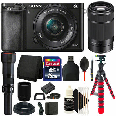 Sony Alpha A6000 24.3MP Camera with 16-50mm, 55-210mm & 650-1300mm Lenses Bundle