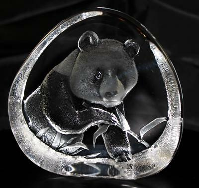 Hand Etched Crystal Panda & Bamboo - Mats Jonasson -  From Gallery - (18451-080)