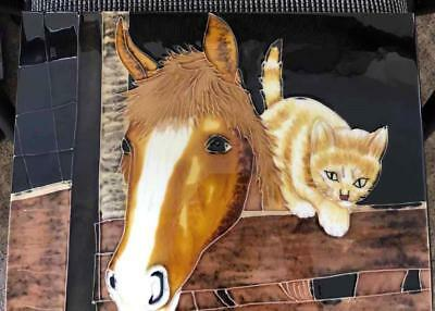 Horses & Cat - Ceramic Tile - 11in x 14in - New From Gallery (T023-023)