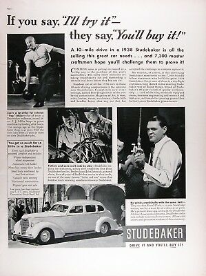 1938 STUDEBAKER SEDAN Genuine Vintage Advertisement ~ Drive it and you'll buy it
