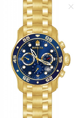 Invicta Pro Diver Scuba 18kt Gold Plated Steel Chronograph Blue 48mm Watch 21923