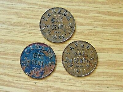 1931 / 1932 / 1935  Three CANADA SMALL CENT  King George Pennies Canadian Coins