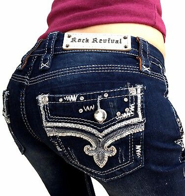 ROCK REVIVAL Jeans NWT Low Rise Betty Bling Bootcut Boot Stretch Jean 33 X 34