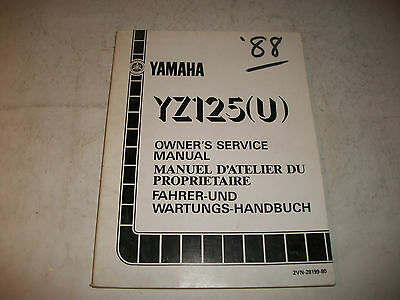 Official 1988 Yamaha Yz125(U)  Motorcycle Service Shop Manual Clean More Listed