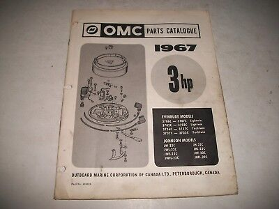 1967 EVINRUDE and JOHNSON  3 HP OUTBOARD PARTS LIST CATALOG