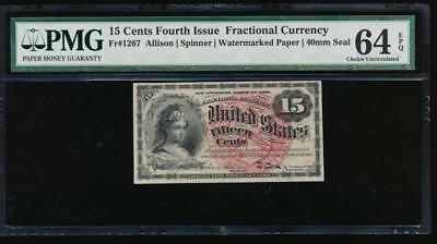 AC Fr 1267 $0.15 1869 fractional fourth issue PMG 64 EPQ