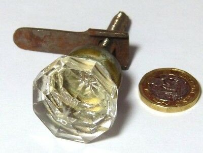 Antique Art Deco Chest Glass & Brass Cupboard Door Small Turn Knob Handle