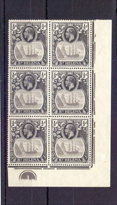 ST HELENA 1923 ½d BADGE SG97 IN MNH PLATE BLOCK OF 6 ( TONED ) CAT £27